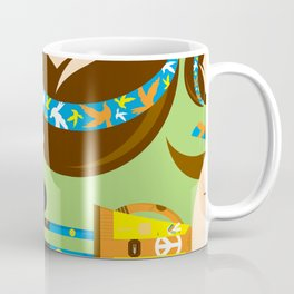Cartoon Sixties Flower Power Hippie Coffee Mug