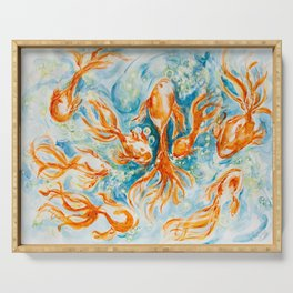 Sparkly Gold Goldfish watercolor by CheyAnne Sexton Serving Tray