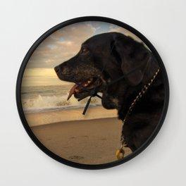sunset dog Wall Clock