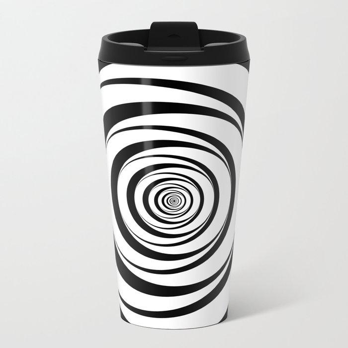 Black White Circles Optical Illusion Metal Travel Mug
