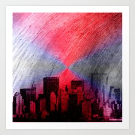 cityscape and colored sky -3- Art Print