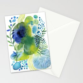 Pebbled Pond in Aqua Hues Stationery Cards