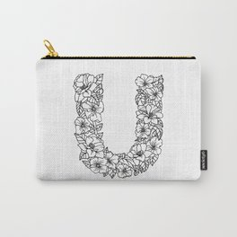 Floral Type - Letter U Carry-All Pouch