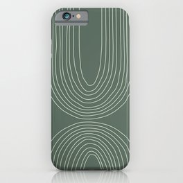 Hand drawn Geometric Lines in Forest Green 4 iPhone Case