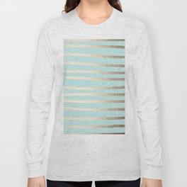 Simply Drawn Stripes White Gold Sands on Succulent Blue Long Sleeve T-shirt