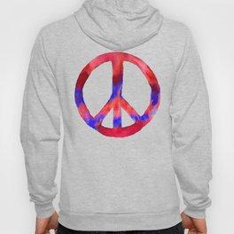 Patriotic Peace Sign Tie Dye Watercolor on Blue Hoody