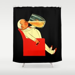 Retro French beer ad Le Bon Bock Shower Curtain