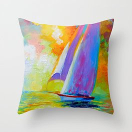 Sailboat in the sea Throw Pillow
