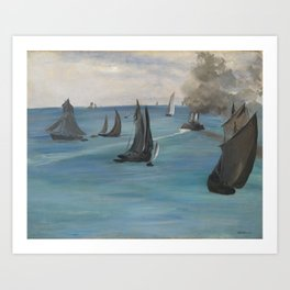 Édouard Manet - Steamboat Leaving Boulogne Art Print