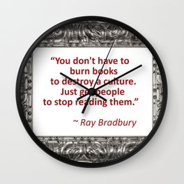 Burning Books - Ray Bradbury Wall Clock