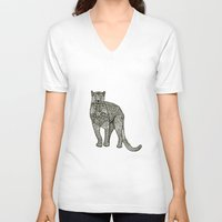 panther V-neck T-shirts featuring Panther by Janina Steger