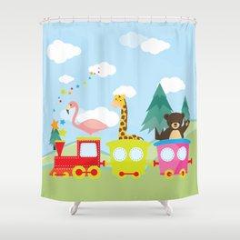 Animals Train , Nursery decor Shower Curtain