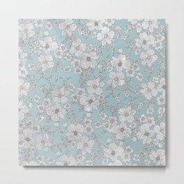 Elegant Silver Glitter Aegean Teal Chic Floral Metal Print