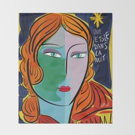 Une étoile dans la nuit French Pop Girl Art Decoration Throw Blanket