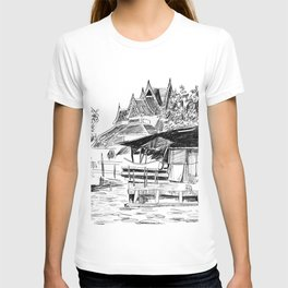 Temple and Home - A Scene on a Bangkok Klong T-shirt