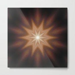 Brown Mandala Star Metal Print