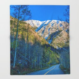 Mountain Path // Rocky Mountains Colorado Landscape Photography Amazing Shots at Sunrise Throw Blanket
