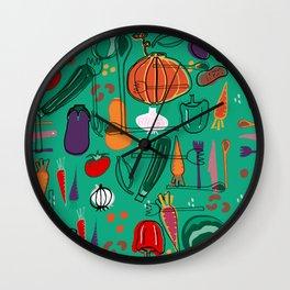 fall veggies green Wall Clock