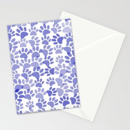 Blue Dog Paw Prints All Over  Stationery Cards