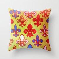 fleur de lis Throw Pillows featuring Fleur de lis #4 by Camille
