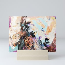 Bright multi-colored painting, contemporary art.  acrylic paint, abstract texture hand drawn gradien Mini Art Print