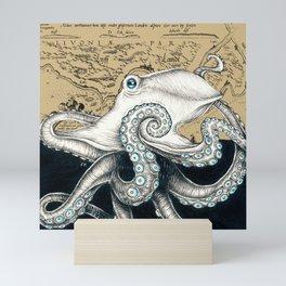 Octopus Tentacles Vintage Map Beige Ink Mini Art Print