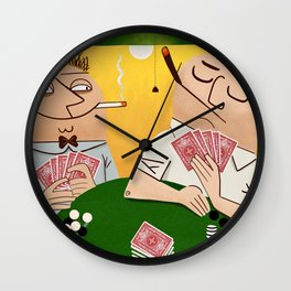 Poker Faces Wall Clock