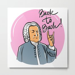 Back to Bach (pink background) Metal Print