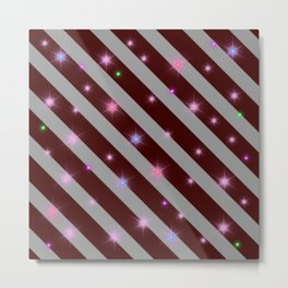 Silver stripes and maroon pattern Metal Print