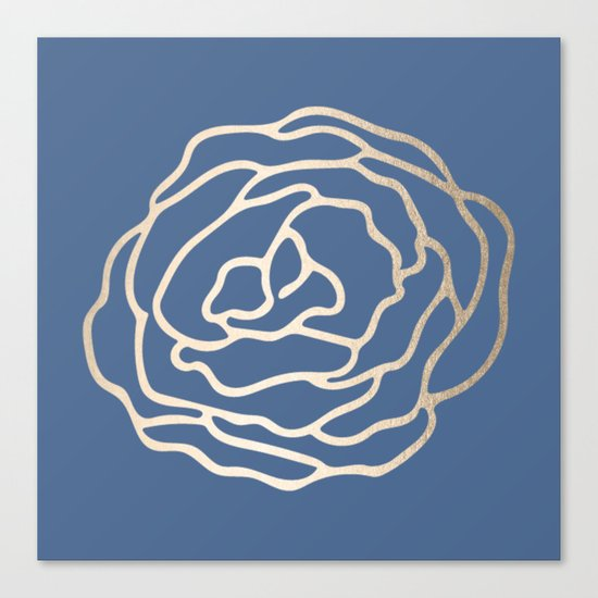 Flower in White Gold Sands on Aegean Blue Canvas Print