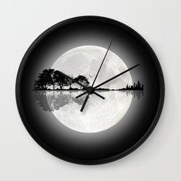 Moonlight Nature Guitar Wall Clock