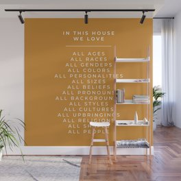 In This House Diversity Acceptance Print - American English - Mustard Yellow Wall Mural