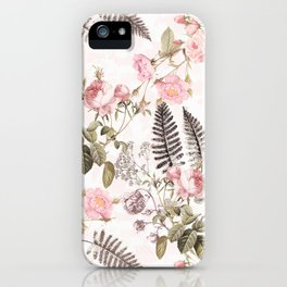 Vintage & Shabby Chic - Blush Roses and Fern Leaf iPhone Case