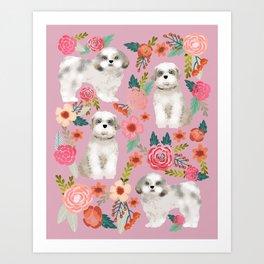 Shih Tzu florals love gift for dog person pet friendly portrait dog breeds unique small puppy Art Print