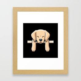 Cute Labrador dog puppy retro gift Framed Art Print