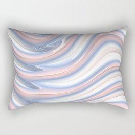 Rose Quartz Pink Serenity 3D Blue Waves Pattern Rectangular Pillow