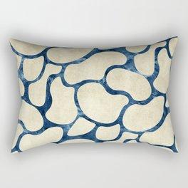 Gold Beans Outline Rose Teal Paper Rectangular Pillow