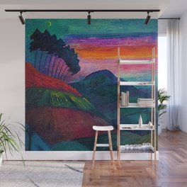 'Farmer on his Way Home at Sunrise' mountain landscape by Marianne von Werefkin Wall Mural
