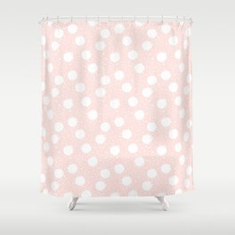 Snowfall White Polka Dots On Pink Shower Curtain