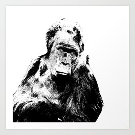 Gorilla In A Pensive Mood Portrait #decor #society6 Art Print