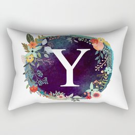 Personalized Monogram Initial Letter Y Floral Wreath Artwork Rectangular Pillow
