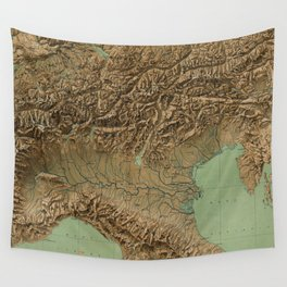 Vintage Map of Northern Italy (1899) Wall Tapestry