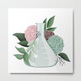 Floral Erlenmeyer Flask Metal Print