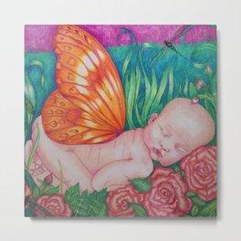 Beautiful Butterfly Baby Scene 2 Metal Print