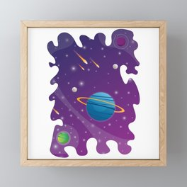 Uncommon Saturn in Space Universe Framed Mini Art Print