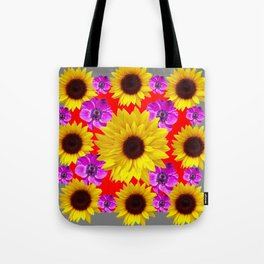 RED-GREY PURPLE FLOWERS & SUNFLOWERS DECO ART Tote Bag
