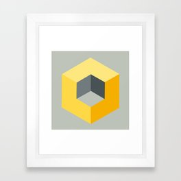 'Iso-Cube Yellow' Framed Art Print