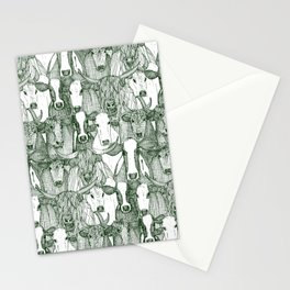 just cattle dark green white Stationery Cards