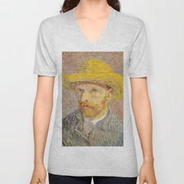 Vincent van Gogh - Self-Portrait with a Straw Hat - The Potato Peeler Unisex V-Neck