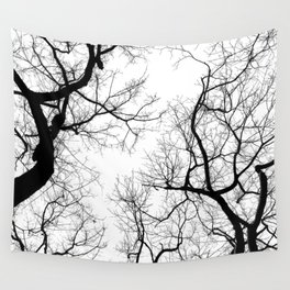 Black and white tree top silhouettes... Wall Tapestry